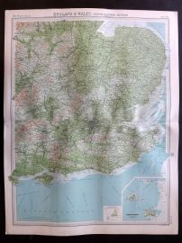 Bartholomew 1922 Large Map. England & Wales, South Eastern Section